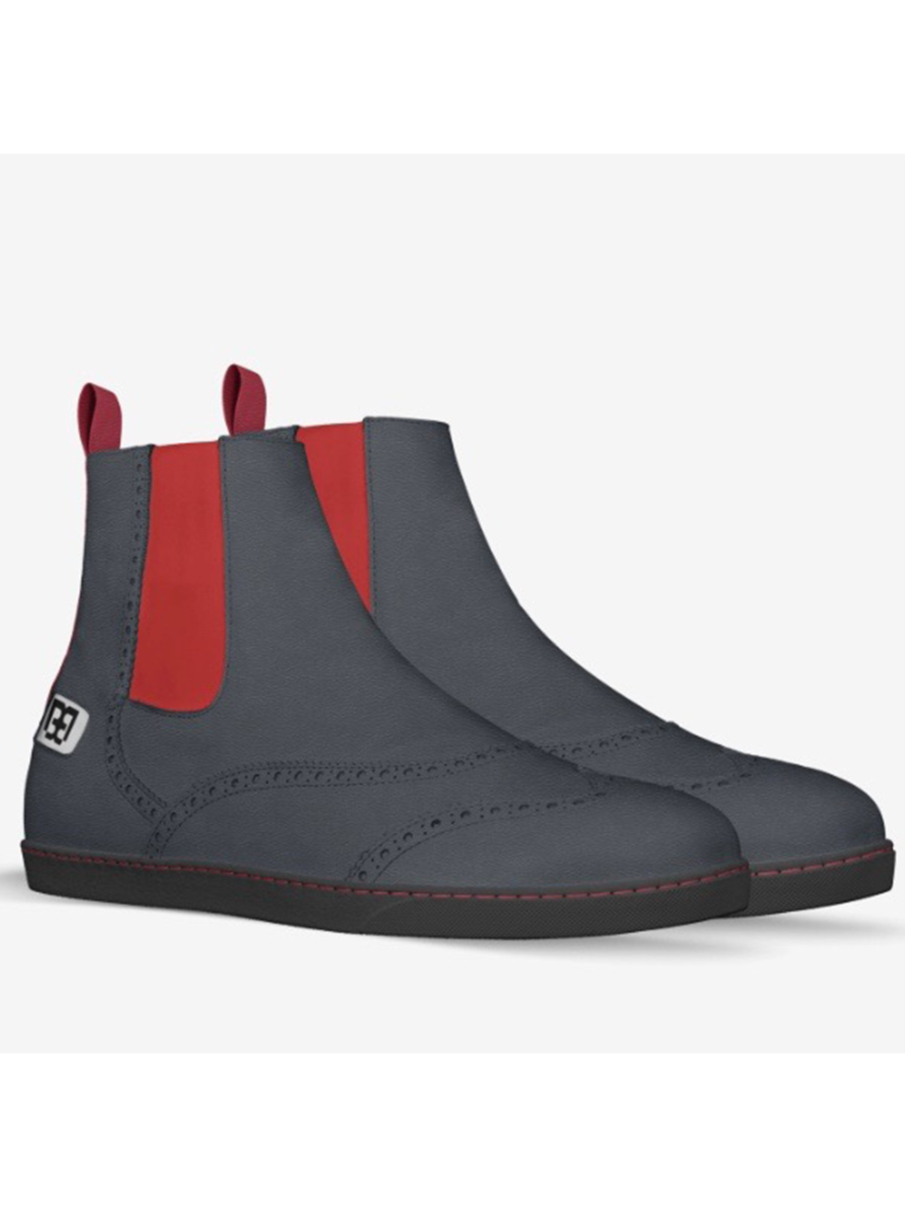 Oxford Boots with Red Side Panel - Brit Boss
