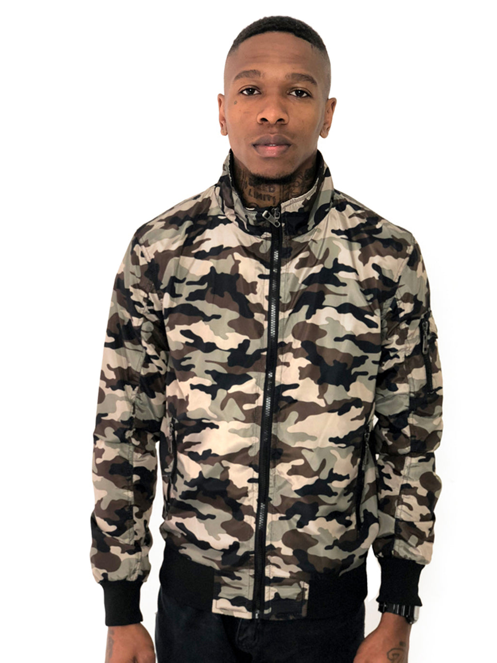Men Bomber Jacket Camo Nude by Brit Boss - Brit Boss