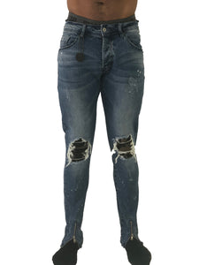 Skinny BIker Jeans with Camo Bandana by Project X Paris
