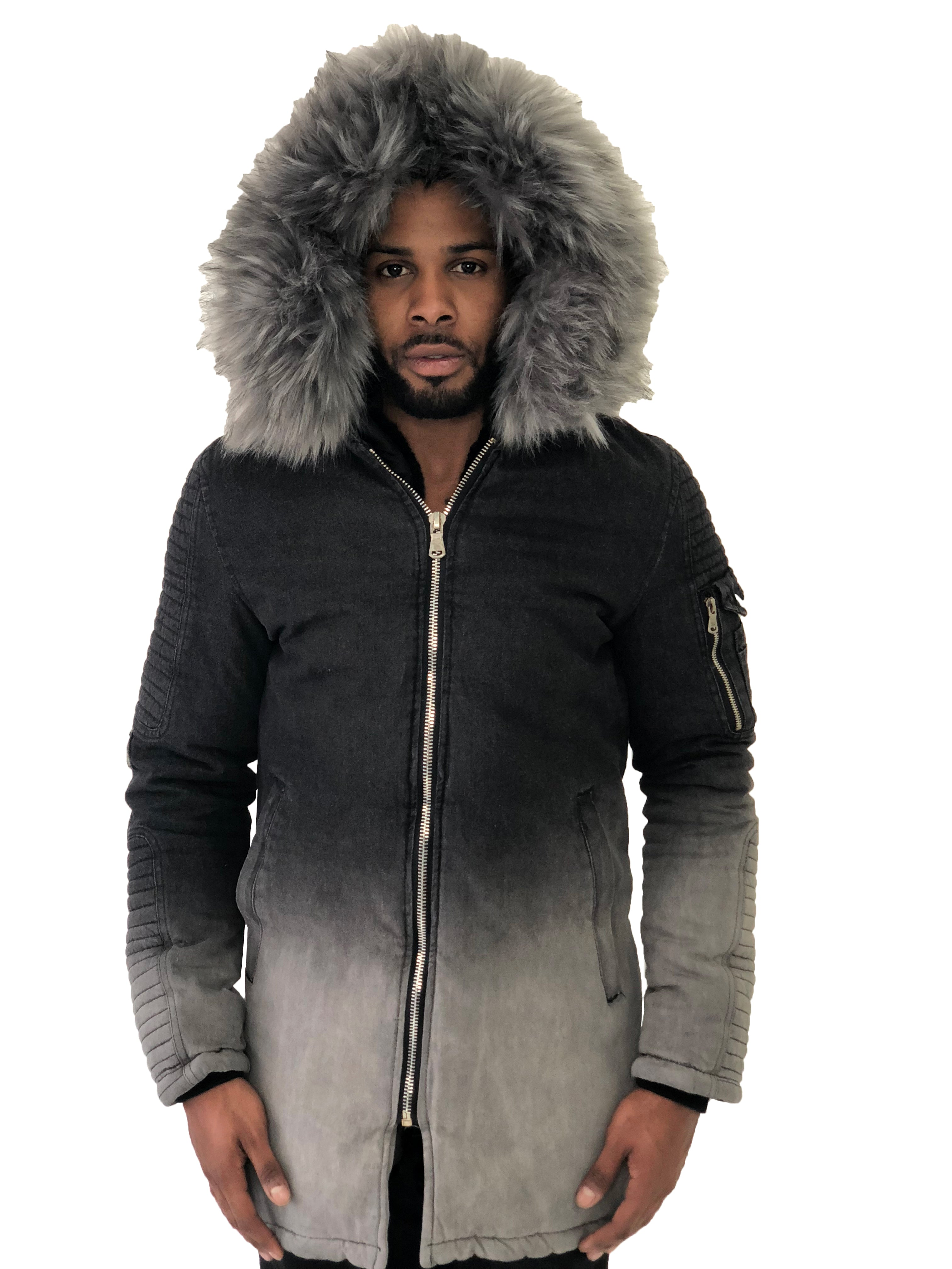 Men Coat Two Toned Gray Fur Collar Gray by Project X Paris - Brit Boss