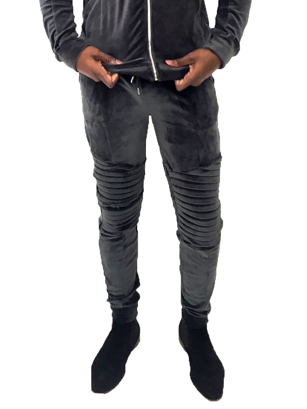 Men Sweatpant Gray Velour by Project X Paris