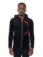 Men Jacket Zip Up Velour Grapic Sleeves by Project X Paris - Brit Boss
