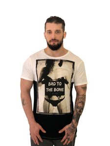 "Men T-Shirt ""Bad to the Bone"" Graphic Two Toned by Religion U.K. - Brit Boss"