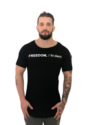 "Men T-Shirt ""Freedom"" Zipper Detailed Black by Religion U.K. - Brit Boss"