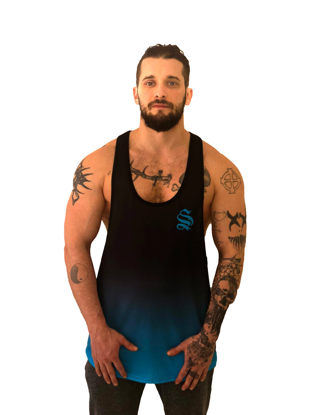 Black/Blue Dip Dye Vest by Sinners Attire - Brit Boss