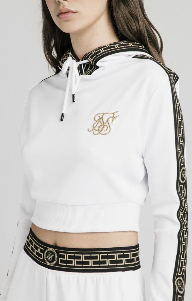 Athena Poly Cropped White Hoodie by SikSilk