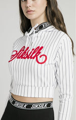 Baseball Cropped White Hoodie by SikSilk