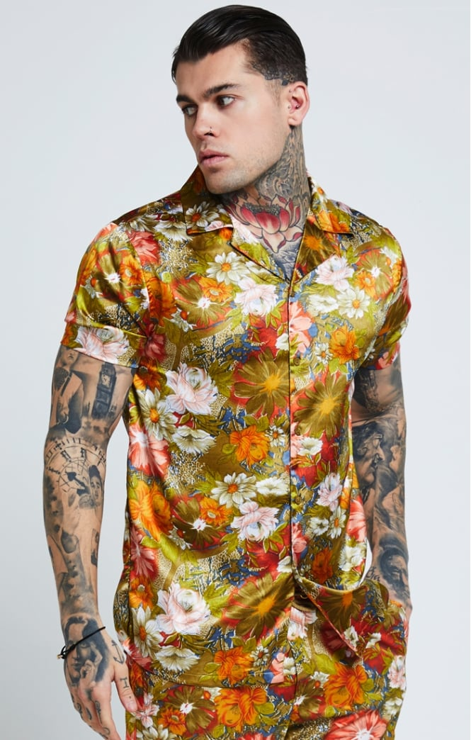 SikSilk  S/S Resort Shirt – Golden Flower Summer Shirt Men
