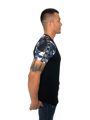 "Men T-Shirt ""Exotic Raglan"" Floral Sleeves Black By Sinners Attire"