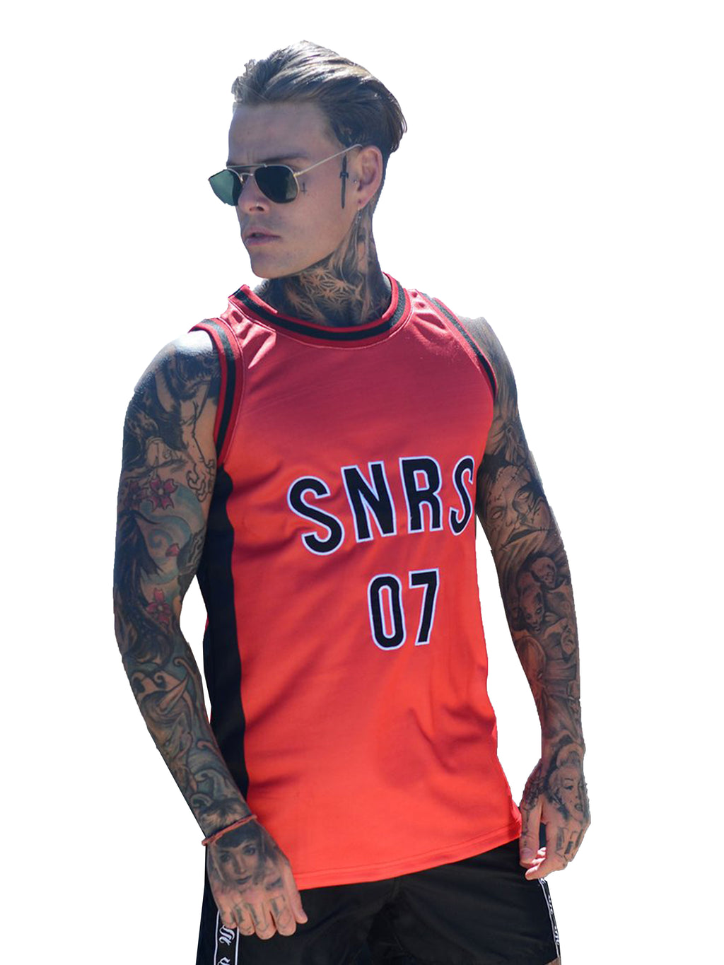 Sinners Attire Red Basketball Vest - Brit Boss