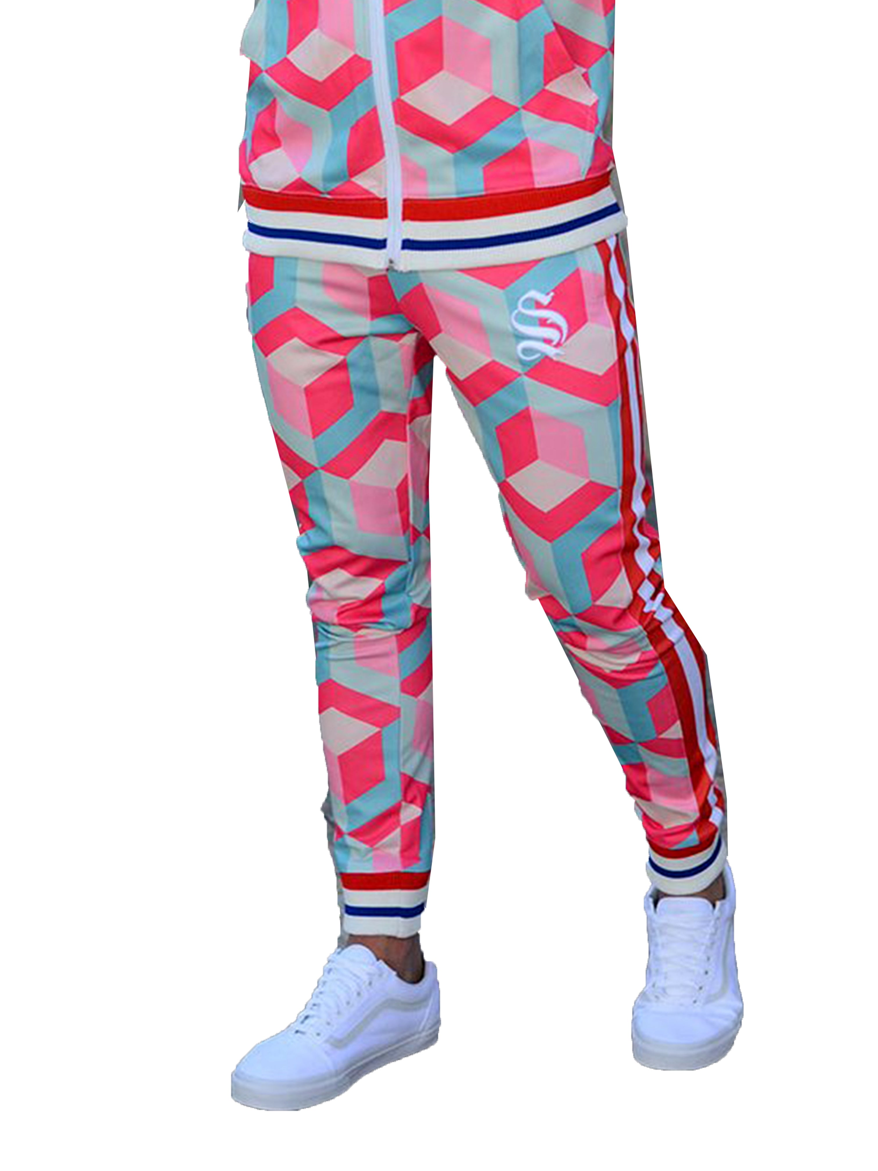 Men Joggers Cubic Pink by Sinners Attire - Brit Boss