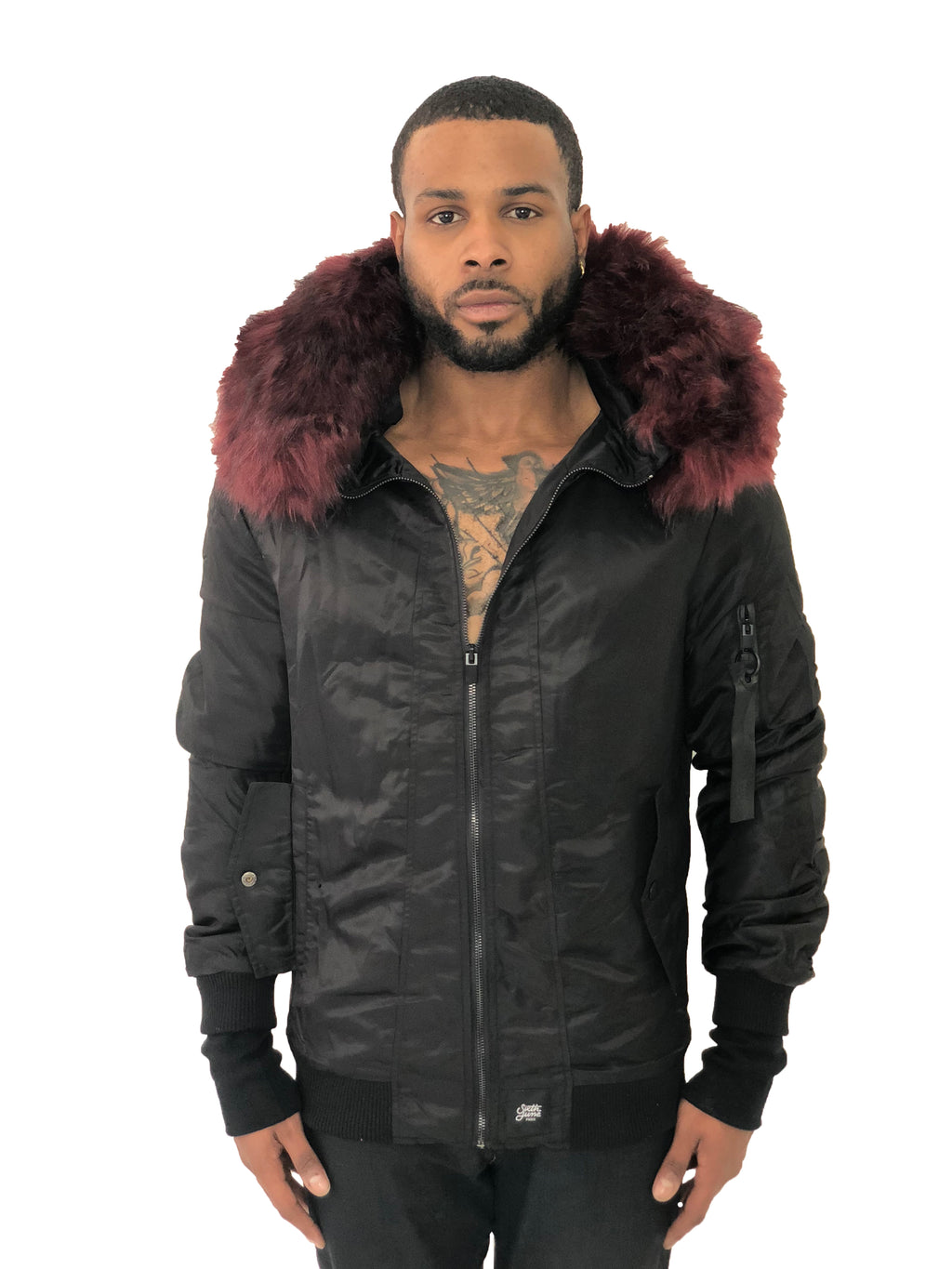 Men Bomber Jacket Hooded Red Fur Black by Sixth June - Brit Boss