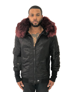 44f7ba6a5 Men Bomber Jacket Hooded Red Fur Black by Sixth June – Brit Boss