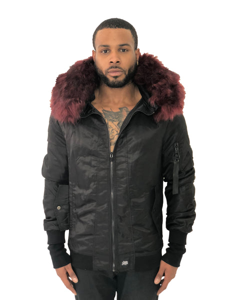 4542ff65d Men Bomber Jacket Hooded Red Fur Black by Sixth June