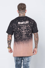 "Men T-Shirt ""Monsters Tour"" Two Toned distressed bleach splatter Black by Sixth June"