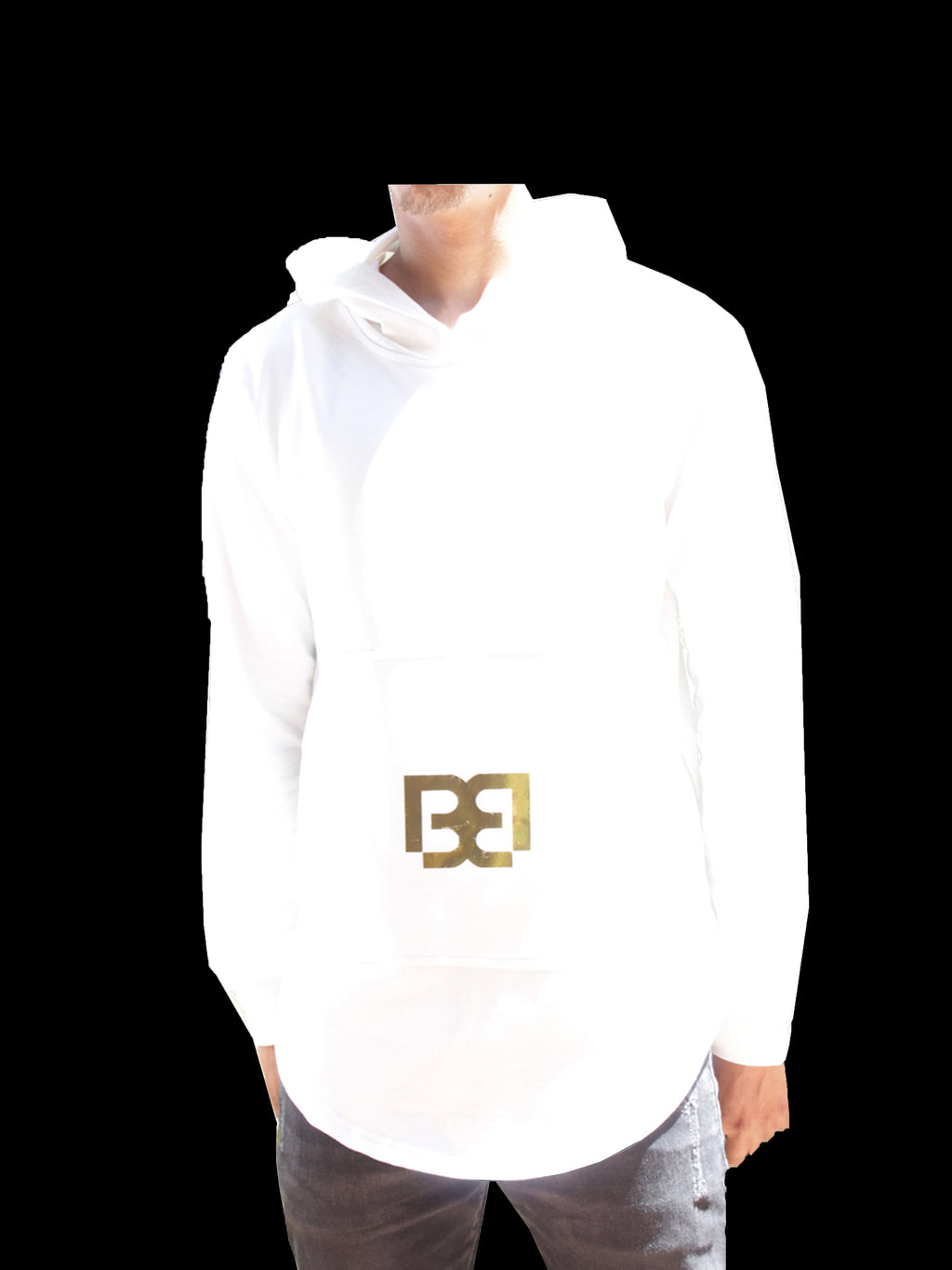 White Hoodie with Gold Block Logo by Brit Boss