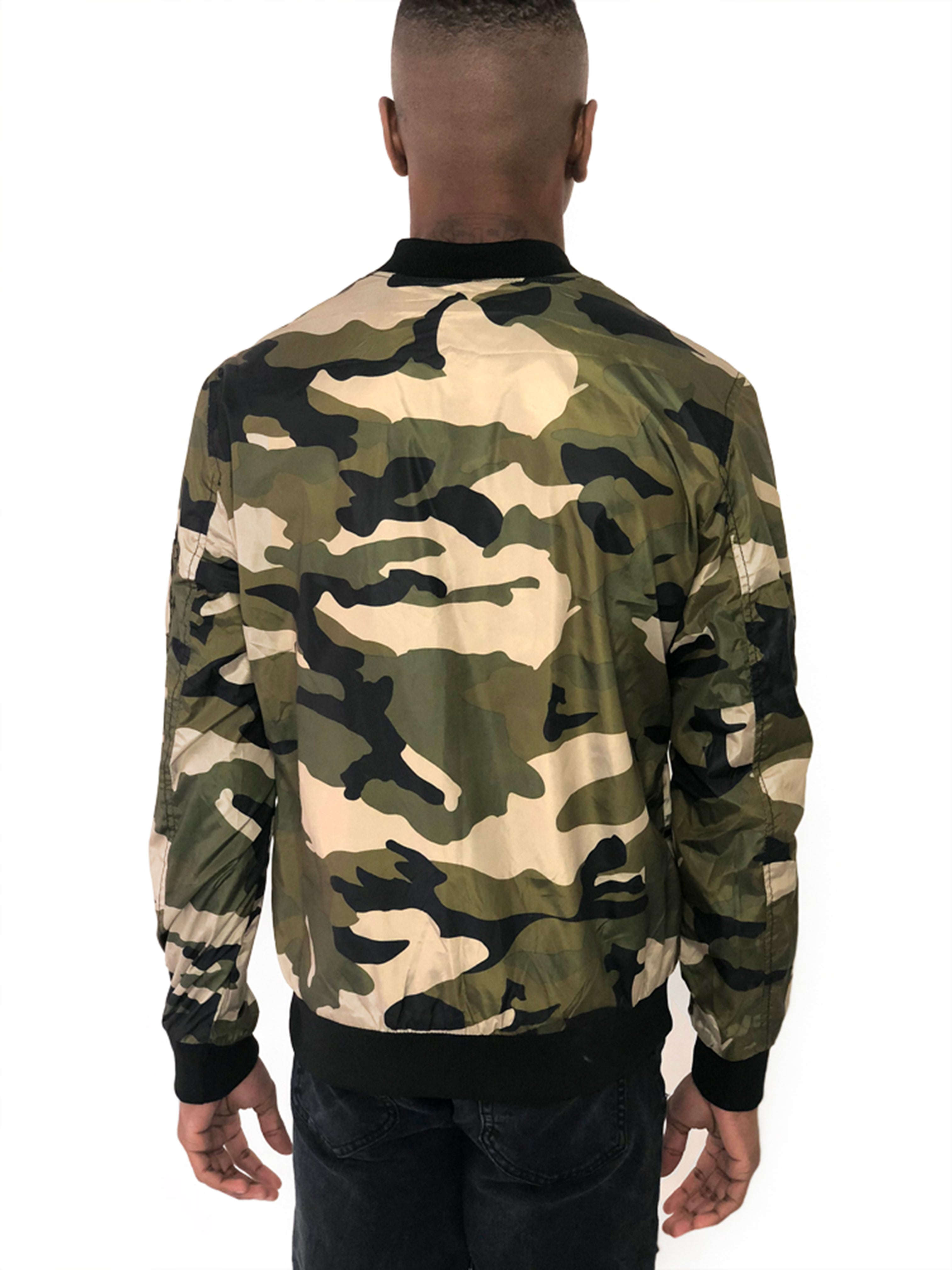 Men Jacket Bomber Three Chest Zipper Camo by Brit Boss - Brit Boss