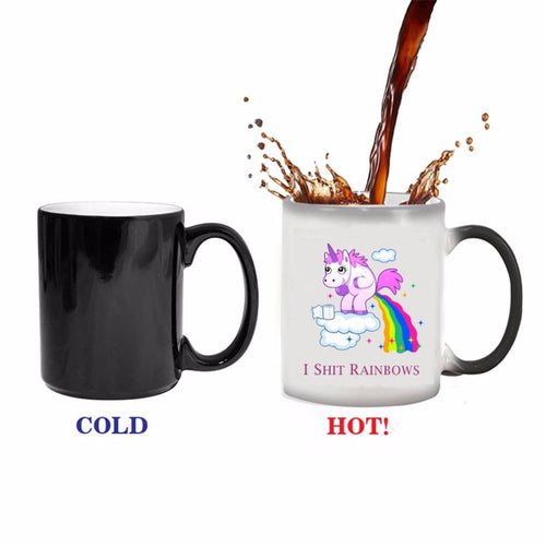 Light Magic Mug Coffee Tea Mug with Lovely Unicorn & Rainbows Pattern Special Letter Print Color Changing Cup - Funniest mugs