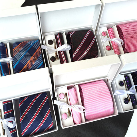 3.35inch(8 Cm) Wide Ensemble Silver Paisley Man Tie, Handkerchief, Pin and Cufflinks Gift Box Packing Many Color - Dude Den