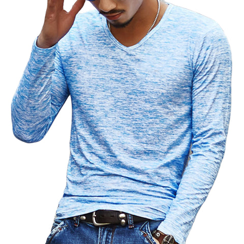 2017 NEW Trendy Spring Men Basic T Shirt Long Sleeve Slim Casual Men Tops Stretch Pullover Tee Chemise Homme Brand Clothing - Dude Den