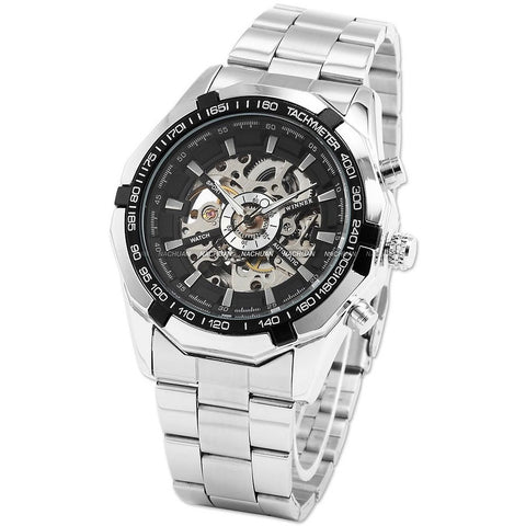 WINNER 099 Vintage Round Skeleton Dial Stainless Steel Band Men's Automatic Mechanical Wrist Watch - Dude Den
