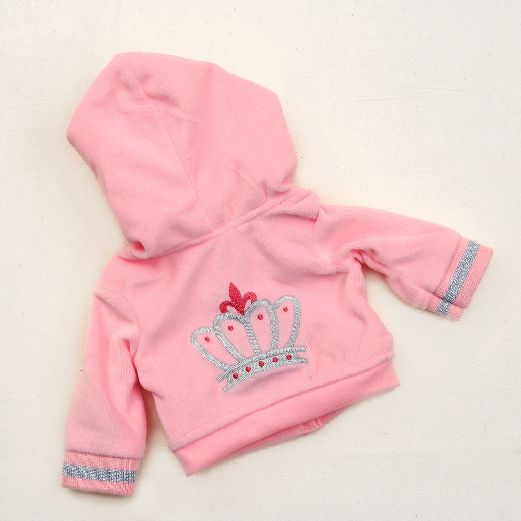4 Pc Deluxe 18 Inch Doll Riding Outfit Pink Velour Sweatsuit