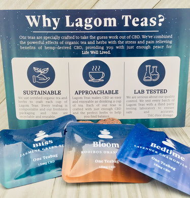 Lagom's CBD Tea Trial 3 Pack (Bedtime, Bliss & Bloom) - 45mg - Zerep Holistics