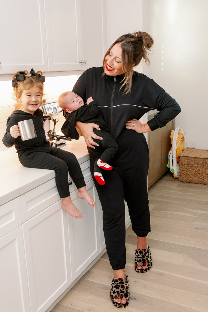 ashley freeborn and daughter in brunette the label smash + tess rompers