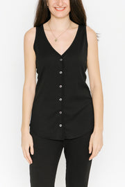 THE S+T EVERYDAY BUTTON TANK IN MIDNIGHT BLACK