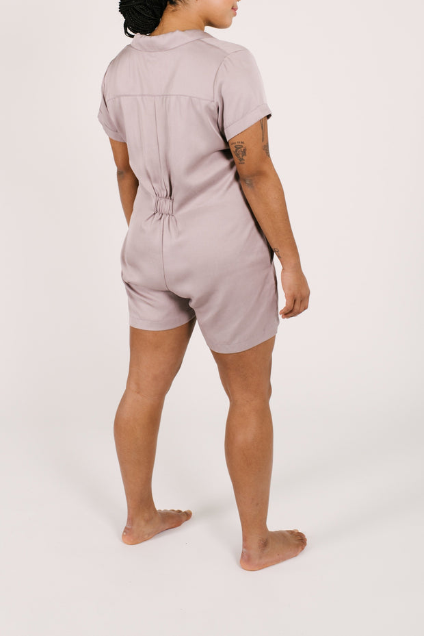 "The Shorty Coveralls | Maya is 5'8"" wearing a Size Large"