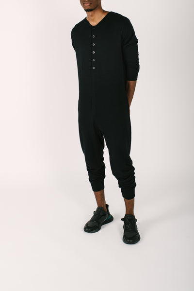 THE GUY ROMPER IN MIDNIGHT BLACK