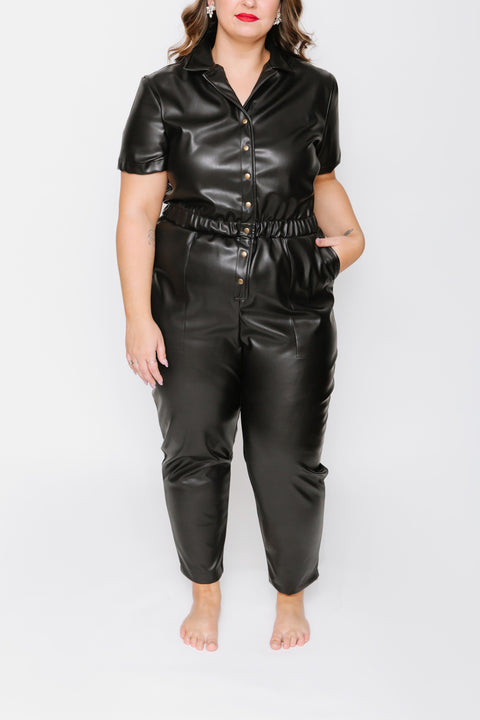 THE MIDNIGHT MOOD ROMPER IN UN-REAL LEATHER