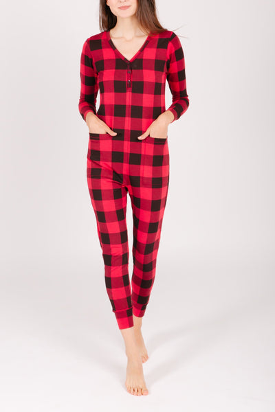 THE S+T PRESENT ROMPER IN POINSETTIA PLAID