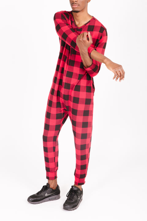 THE S+T PRESENT GUY ROMPER IN POINSETTIA PLAID
