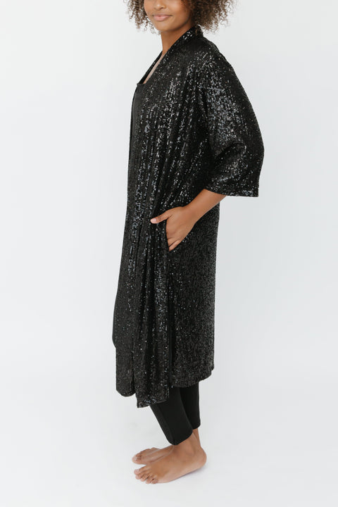 THE FOREVER FROSTED DUSTER IN EVENING BLACK