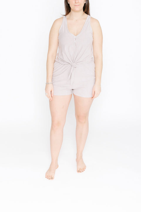 S+T x HILARY DUFF - THE S+T SHORTY LAUREN ROMPER IN FAWN SHY STRIPE
