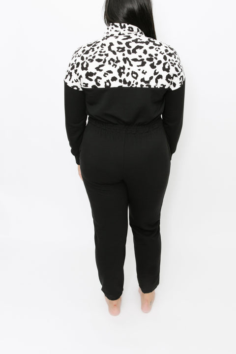 S+T x BRUNETTE - THE GIRLFRIEND ROMPER IN SNOW LEOPARD