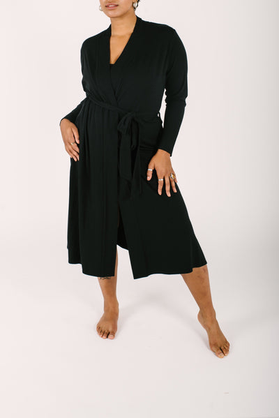 "The Carrie Cardirobe Robe | Maya is 5'8"" wearing a Large"