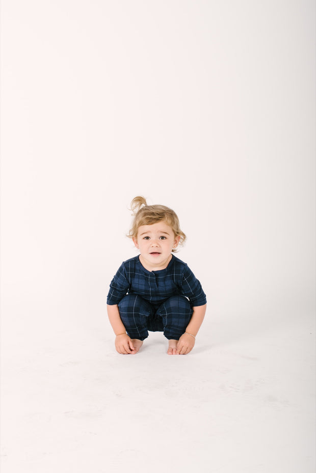 The mini present in plaid romper | Frankie is wearing size 18-24m