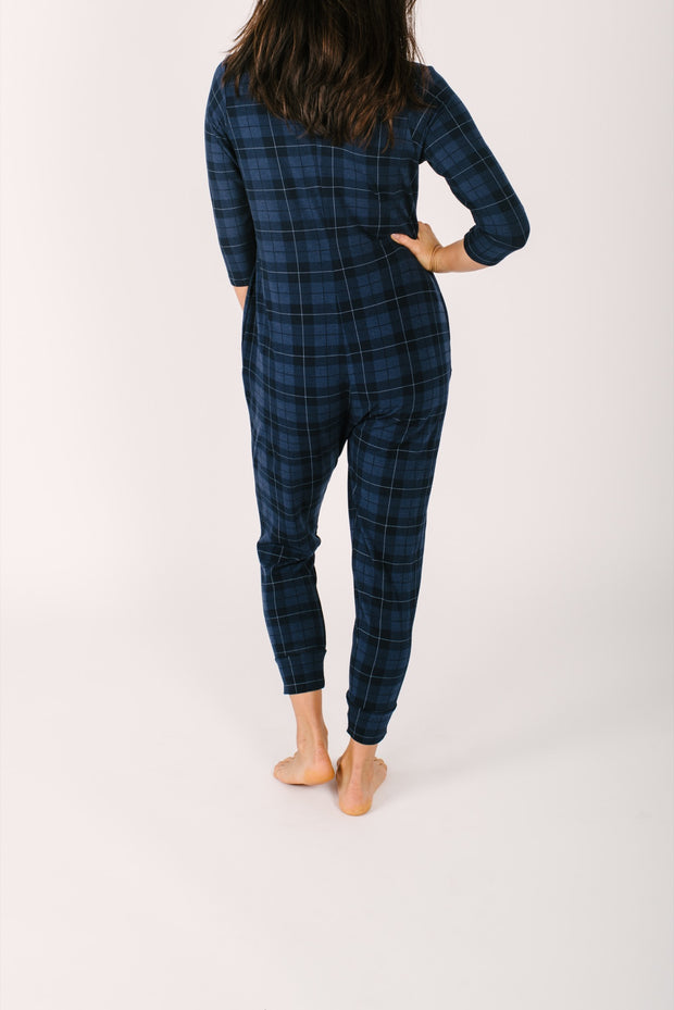 The present in plaid romper back view