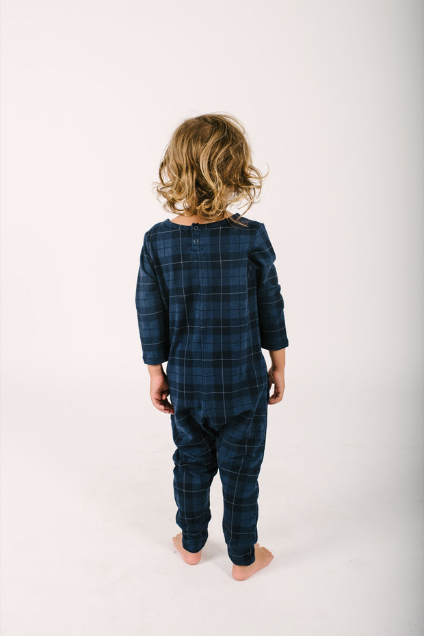 the mini present in plaid romper back view