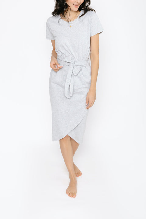 THE REBECCA WRAP DRESS IN HEATHER GREY