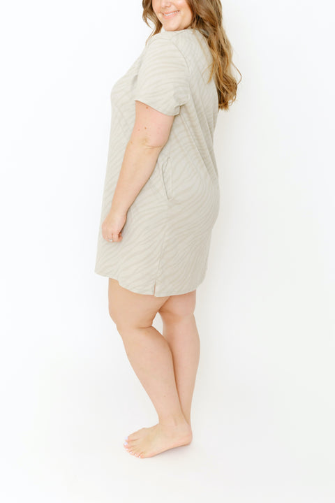 THE S+T EVERYDAY T-SHIRT DRESS IN SAHARA TIGER