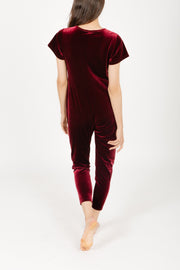 THE S+T SUNDAY VELVET ROMPER IN MERRY MERLOT