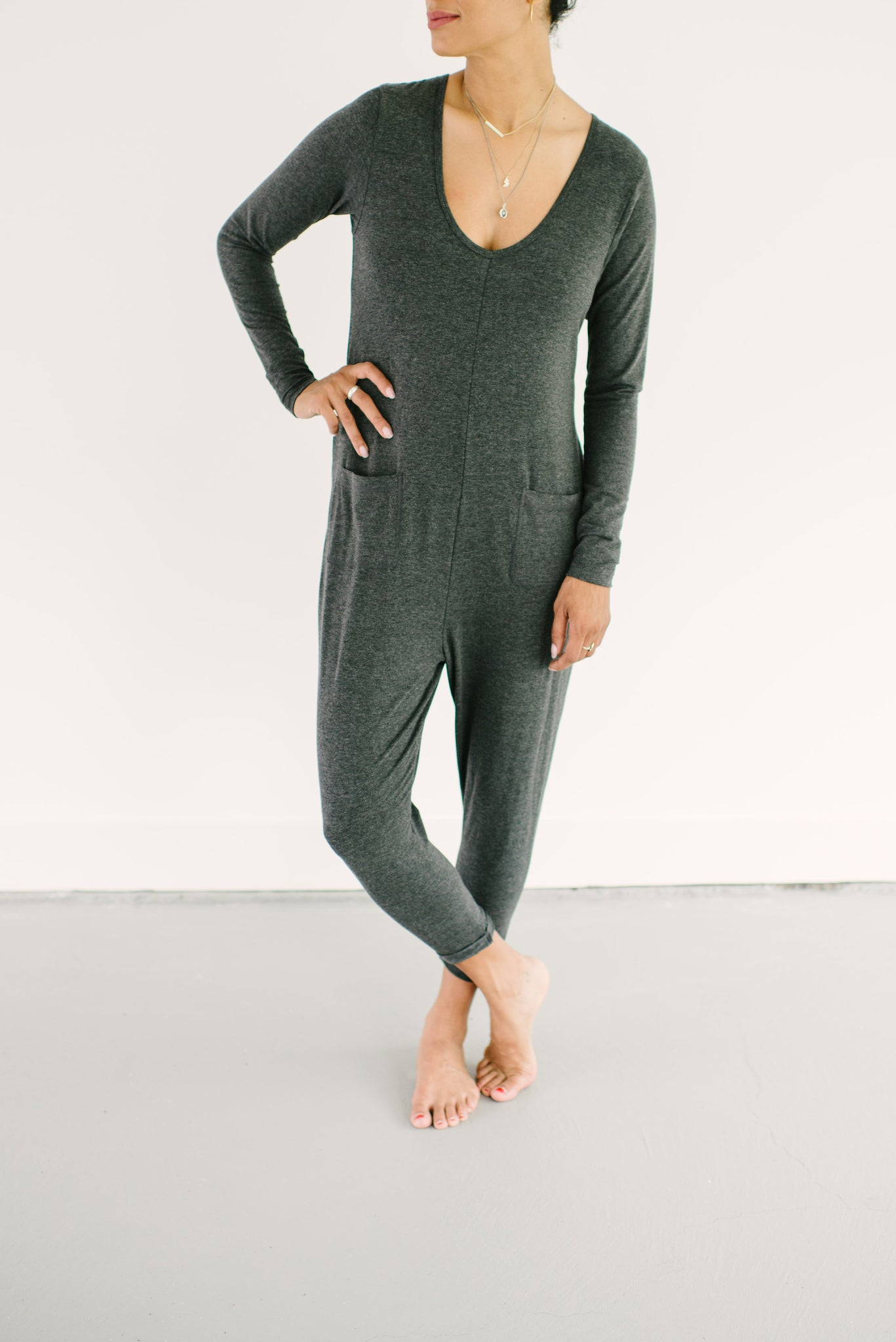 The Wednesday Romper , Long Sleeve Grey Romper