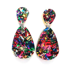 Blossom and Cat - Fireworks glitter raindrop earrings