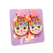 Blossom and Cat - Frida Catlo Flower Dangle · Pink -  statement earrings