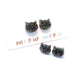 Blossom and Cat - Dark Silver Rainbow Glitter mini stud