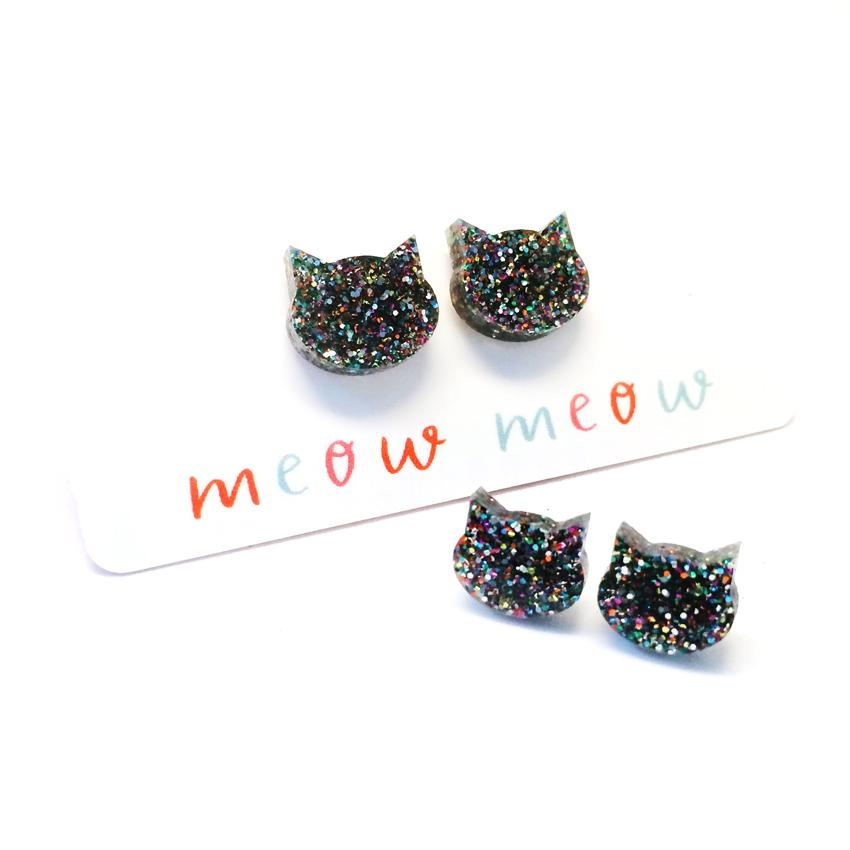 Blossom and Cat - Dark Silver Rainbow Glitter Cat mini stud