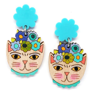 Blossom and Cat - Frida Catlo Flower Dangle · Blue -  statement earrings